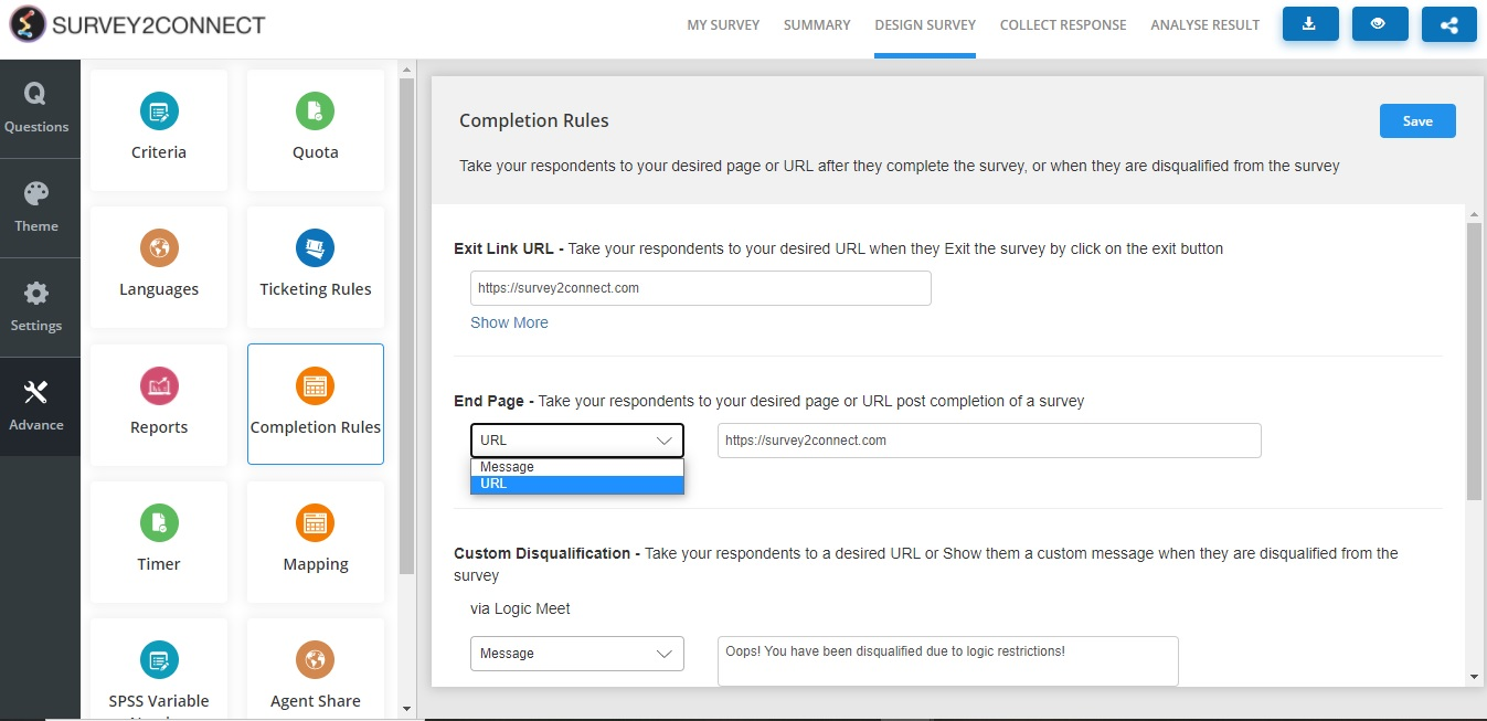 View of End Page Message Completion rule