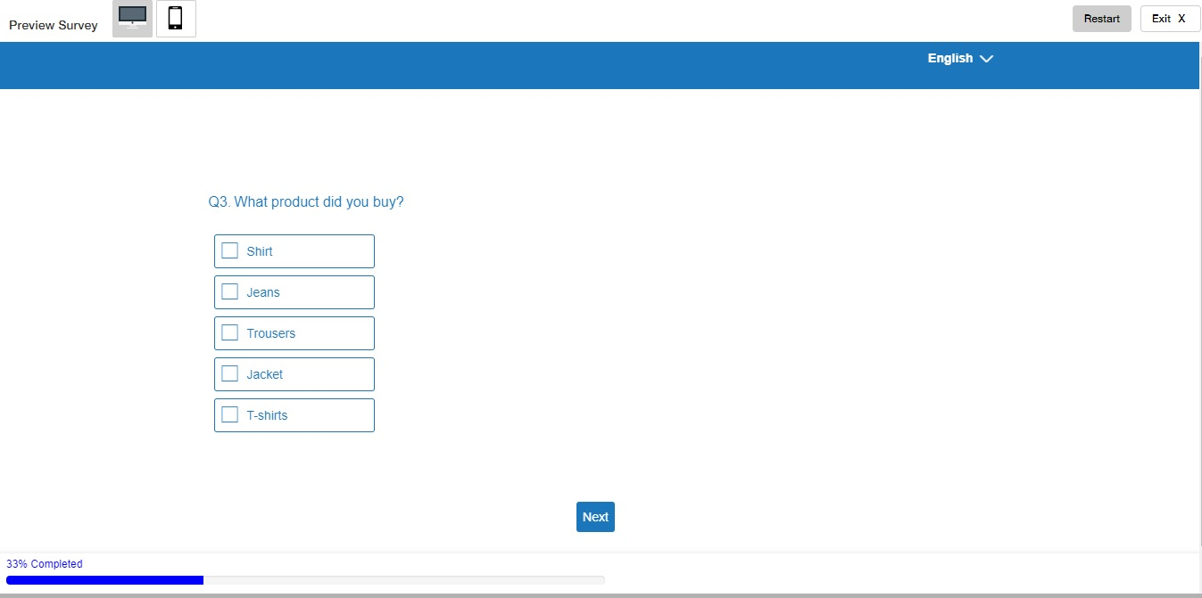 View of the survey when the page number is disABLED