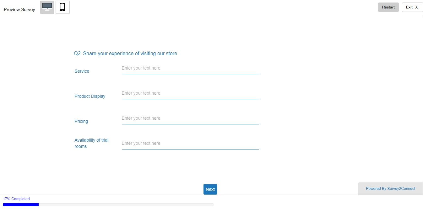 view of the survey when the question number feature is enabled