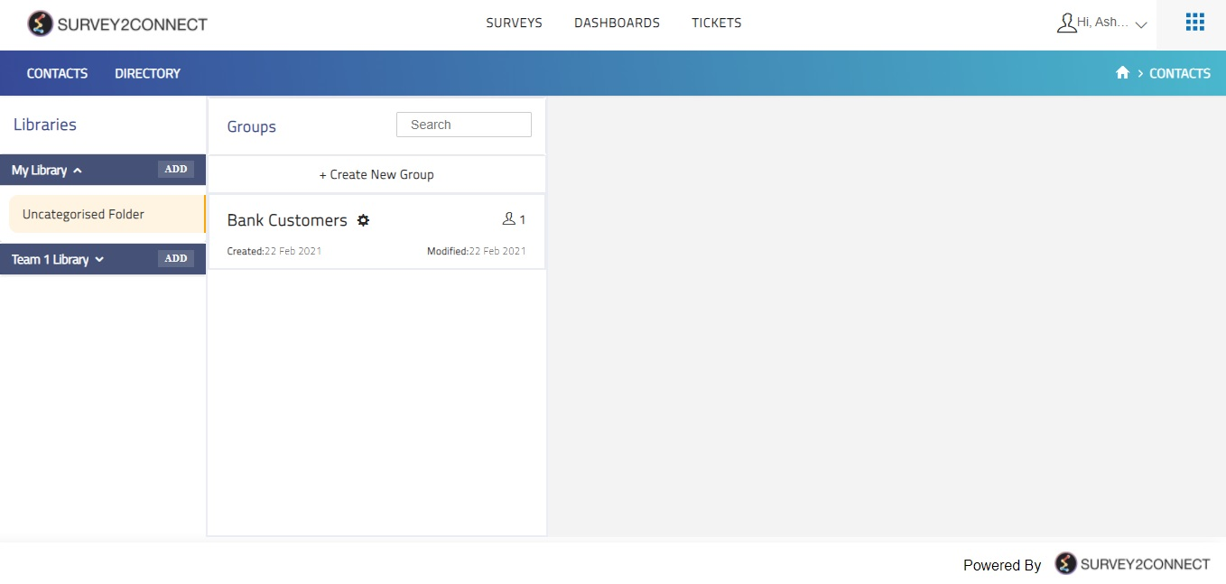 Contacts overview page allows you to save and edit your contacts and groups