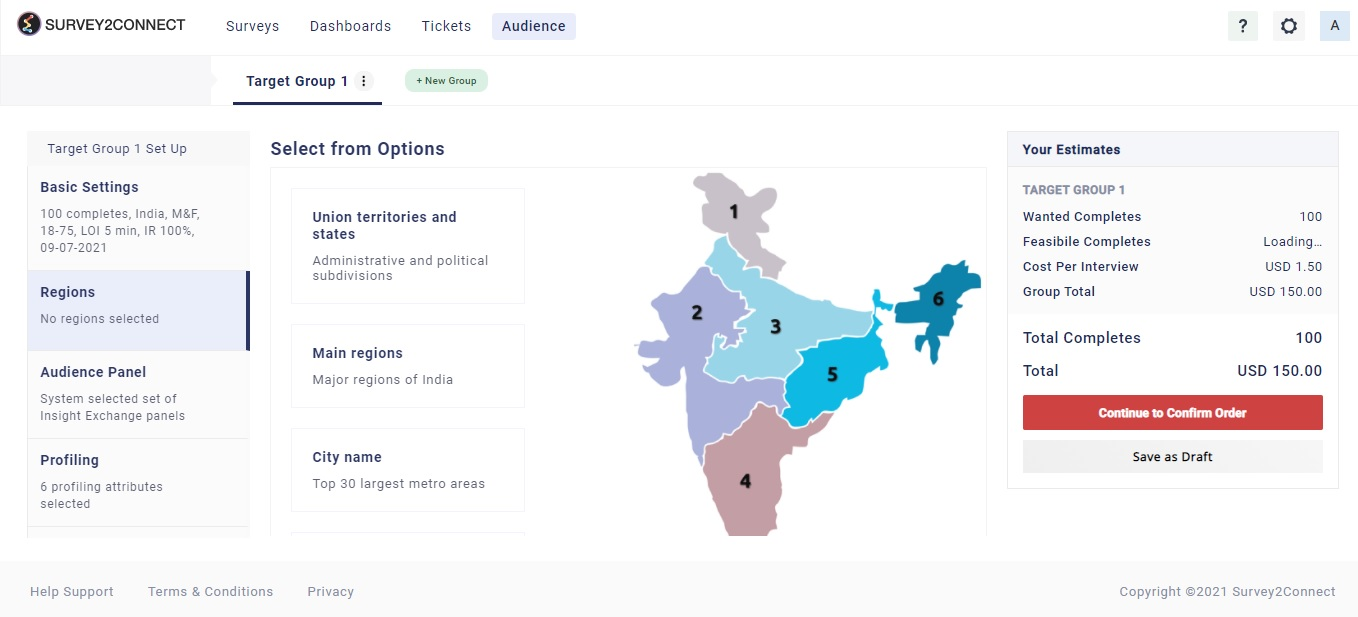 Selecting region allows you to create an audience campaign for a specific region