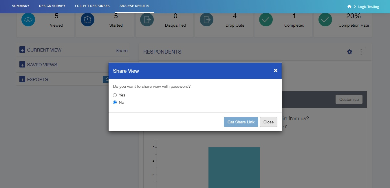 Share option in current view lets you share the current view of the Question Summary tab