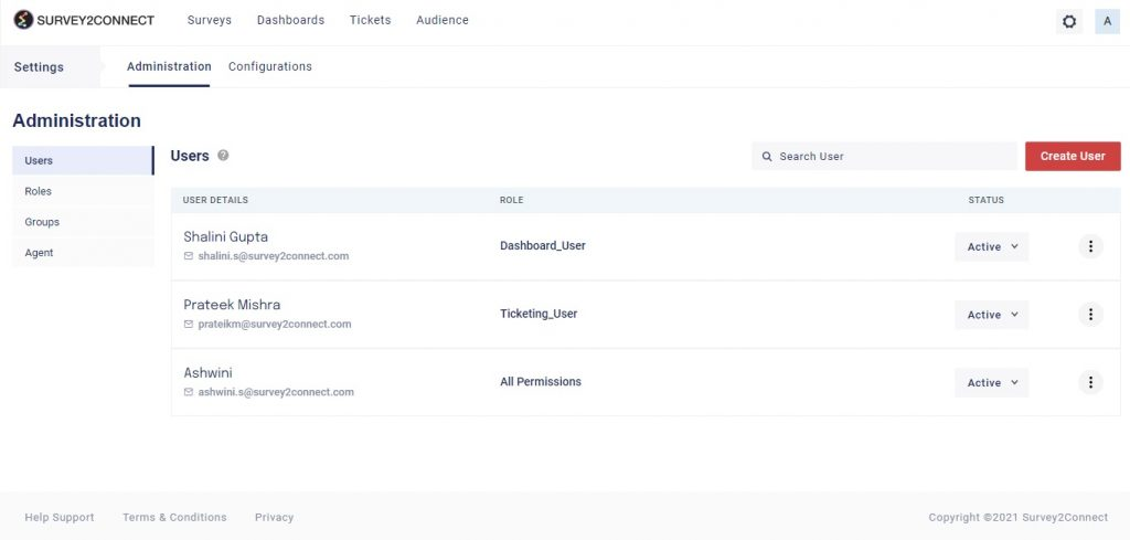 Admin section gives you the option to manage users in your account