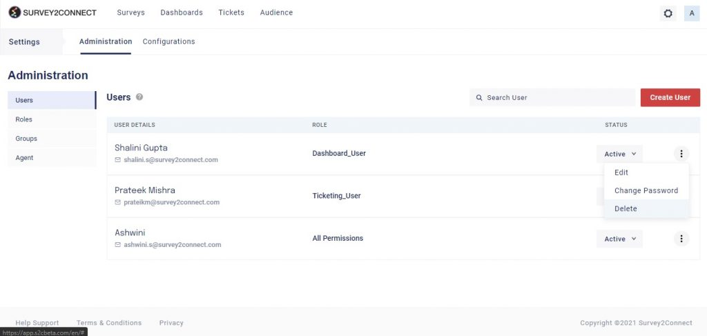 Under manage your users section, you can edit your users' details