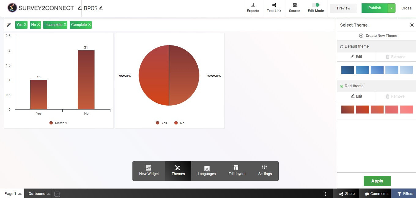 Dashboard themes allow you to customize your dashboard design as per your need.
