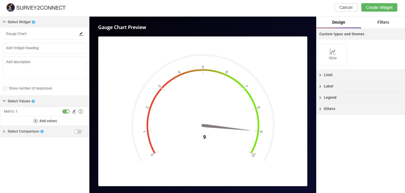 The gauge chart is similar to Pie Chart and Donut Chart. It uses a needle to indicate the data point