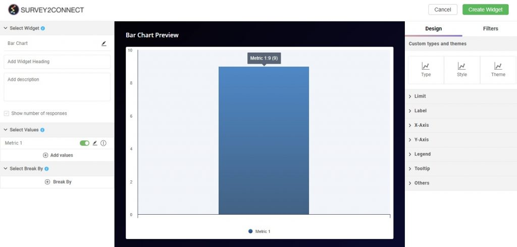 Bar Graph in the widget overview page