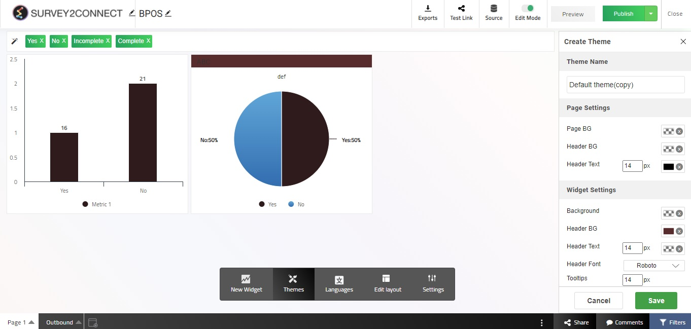 Dashboard theme features allow you to customize the available themes or while creating new themes