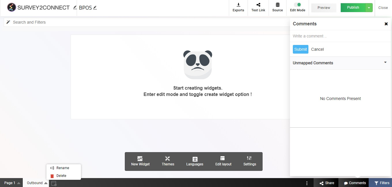 Manage dashboard pages and make changes to the name of the pages created