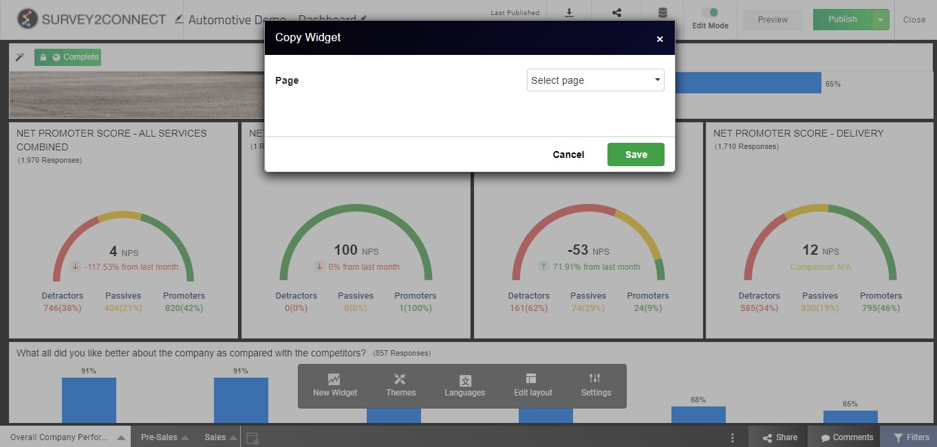 Copy Widget is an option available to users under the manage widget page