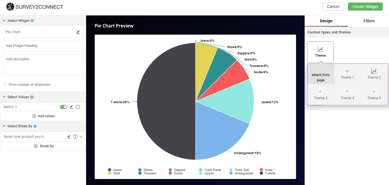 Pie Chart is a circular statistical graphic. It is divided into slices to show the numerical proportion of all the answer choices.