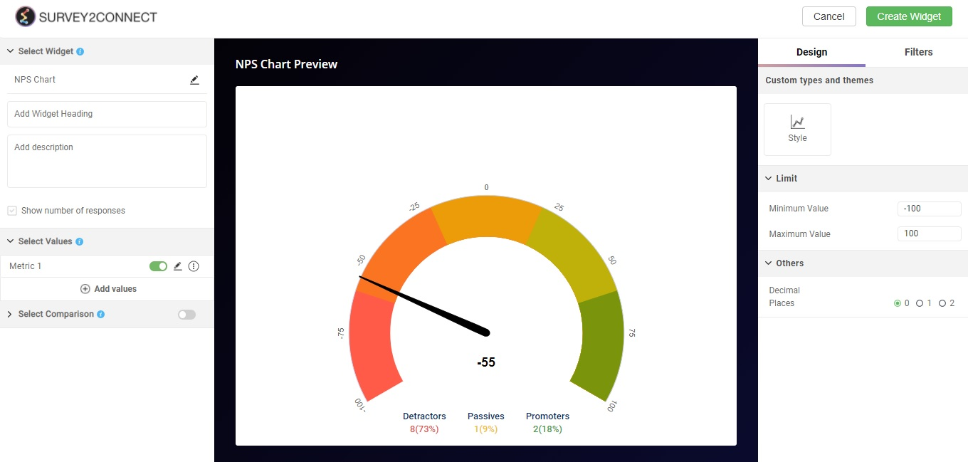 NPS Chart is used to create a widget based on your NPS question in the survey.