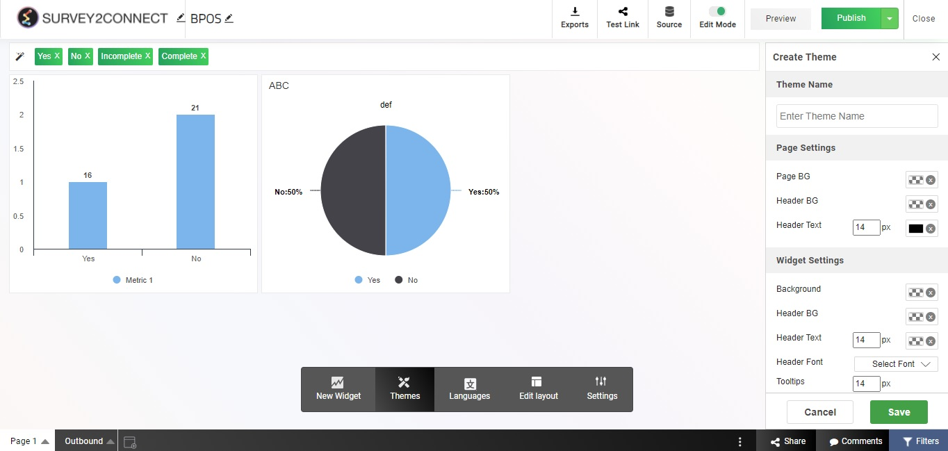 With Survey2Connect's dashboard, you can create new theme that goes with your brand identity.