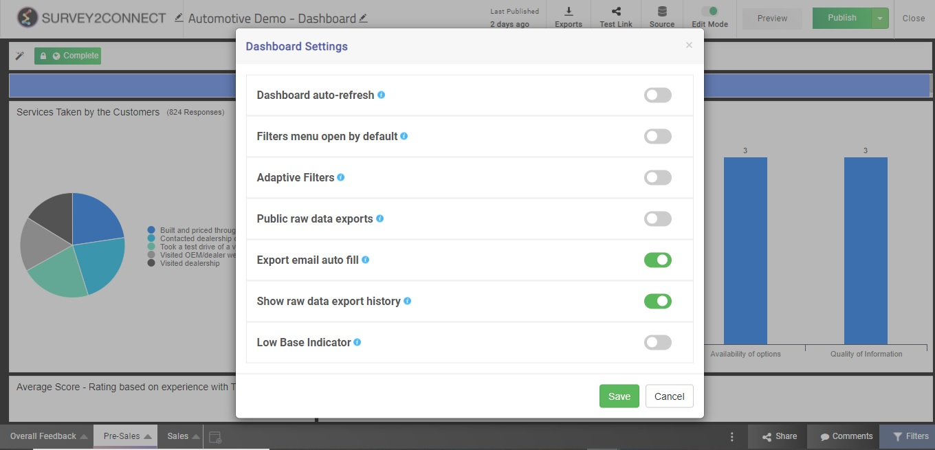 Dashboard settings are available under theSettingsbutton that's shown when the dashboard is inEdit Mode