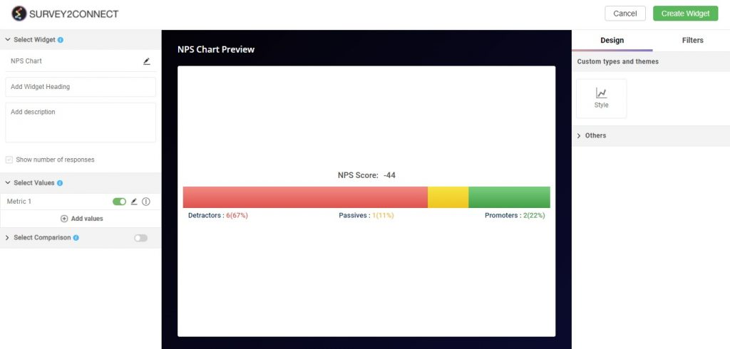 NPS Chart is available in the dashboard widgets